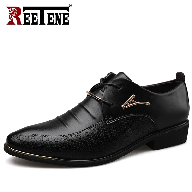 REETENE Men'S Leather Formal Shoes Lace Up Dress Shoes Oxfords Fashion Retro Shoes Elegant Work Footwear Men Dress Shoes