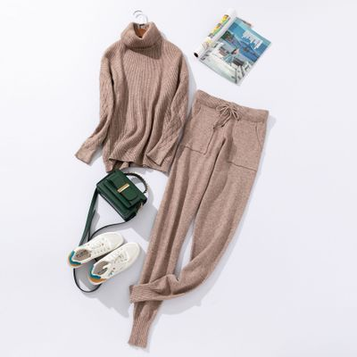 Autumn and Winter Explosions Sportswear High Collar Sweater Knit Pants Suit Casual Women's Two-piece Suit
