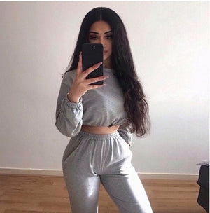 2 Piece Set Women Oversized Sweatshirt Set Autumn Sportwear Solid Tracksuit Sweatpants Set Casual Female Suit Short Sweatshirts
