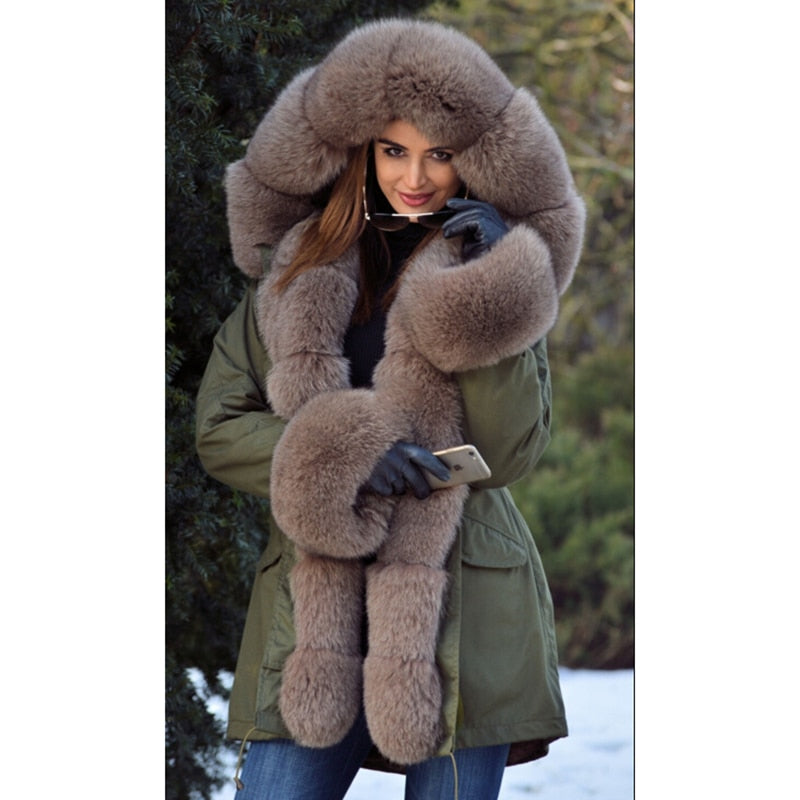 Tatyana Women Real Fur Parka Coat Fox Fur Collar And Cuff Women's Parkas Thick Winter Warm Natural Fur Jacket Long Fox Fur Coats