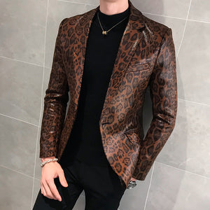 Jacket Leather Stage Costumes For Singers Loose Coat Blaser Homens Terno Masculino Autumn Leopard Print Mens Blazer Skin Suit