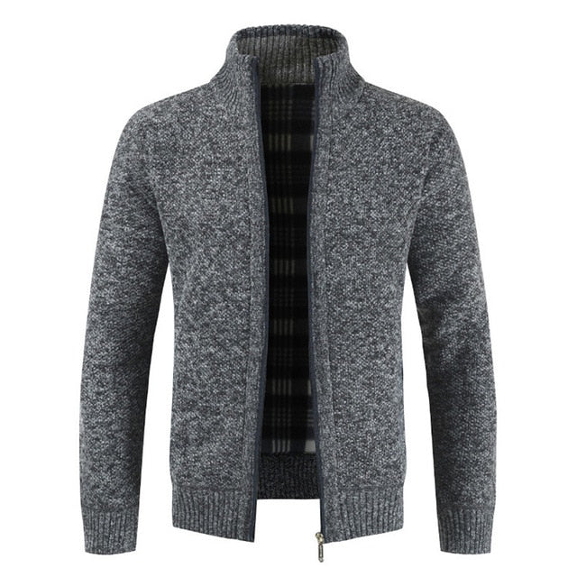 Mens Cardigan Autumn Winter Warm Thick Sweater Casual Knitwear Wind Breaker Jacket Stand Collar Overcoat Men Zipper Knitted Coat