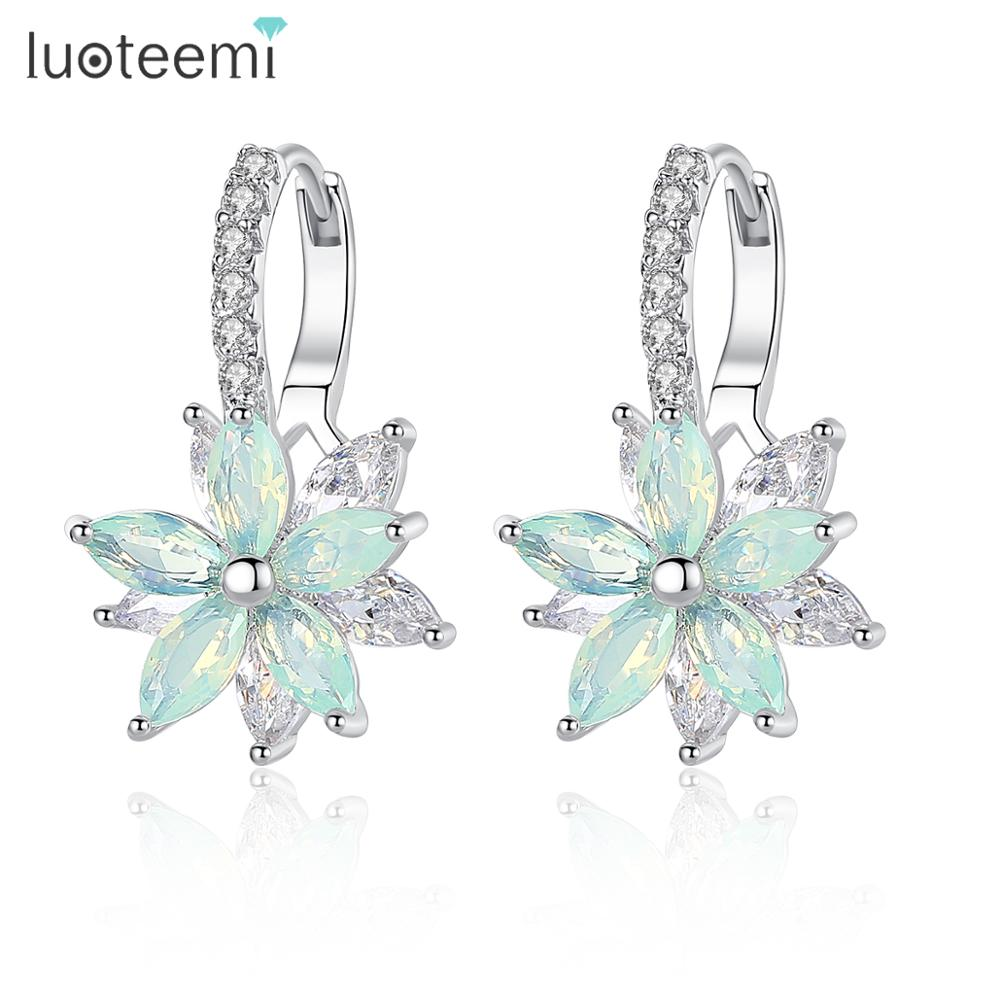 LUOTEEMI Fashion Cubic Zirconia Fancy Crystal Flower Stud Earrings for Women Girls Jewellery Valentine Day Gift Bohemia Bijoux