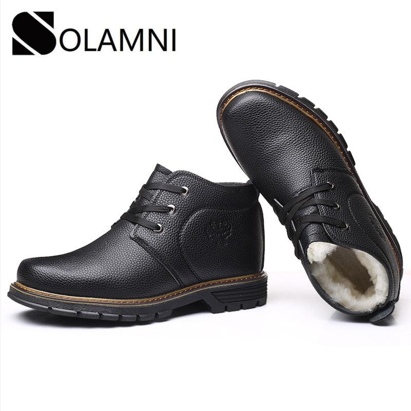 Men Snow Boots Winter Business Casual Leather Ankle Boots With Fur Plush Warm Work Shoes Safety Waterproof None-Slip Dress Shoes