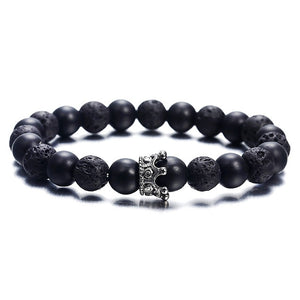 New fashion personality bracelet for women or men trendy jewelry volcanic stone alloy crown vintage bracelet gift ns63