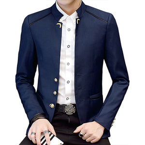 New Fashion Stand Collar Full Sleeve Man Casual Blazer Marry Blazer Men Formal Work Slim Blazer For Spring Autumn Winter YW158
