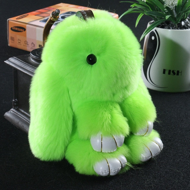 14cm Cute Pluff Bunny Keychain Rex Genuine Rabbit Fur Key Chains For Women Bag Toys Doll Fluffy Pom Pom Lovely Pompom Keyring