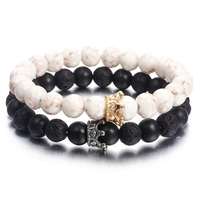 New fashion personality bracelet for women or men trendy jewelry volcanic stone alloy crown bracelet gift