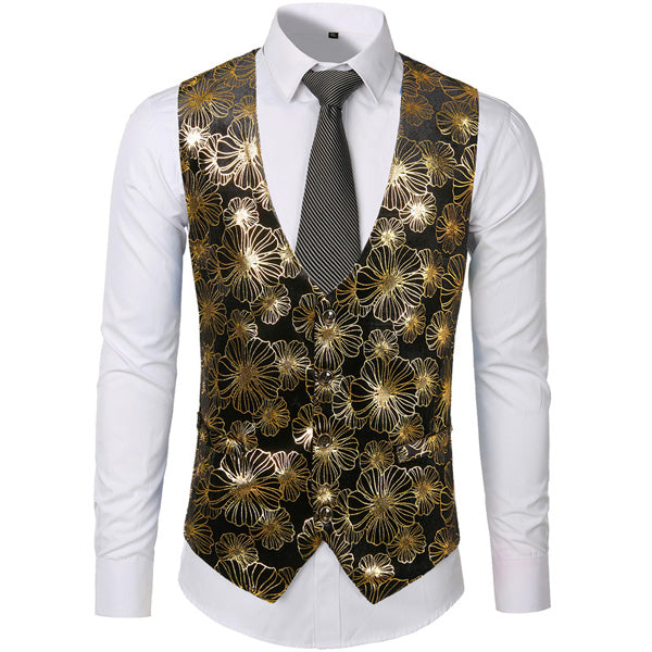 Gold Steampunk Vest Men Suit Gilet Homme Wedding Sleeveless Slim Fit Paisley Floral Dress Vests For Men Single Buttons Waistcoat