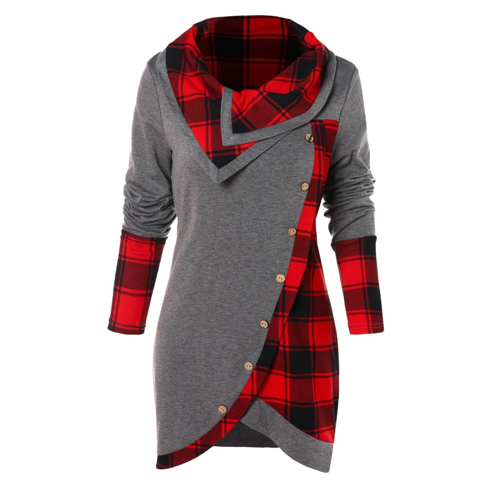 2020 Women Long Sleeve irregular Plaid printed Turtleneck Casual Tartan Tunic Button Sweatshirt Pullover Tops  juvenil mujer #VE