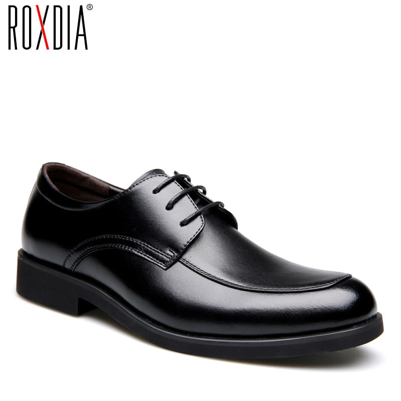 ROXDIA Genuine leather mens dress shoes formal business work male flats men's oxford shoes RXM063 size 39-44