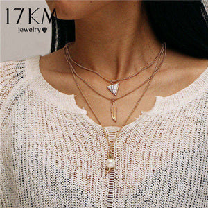 New Multilayer Crystal Moon Necklaces & Pendants For Women Vintage Charm Gold Choker Necklace 2019 Bohemian Jewelry Wholesale