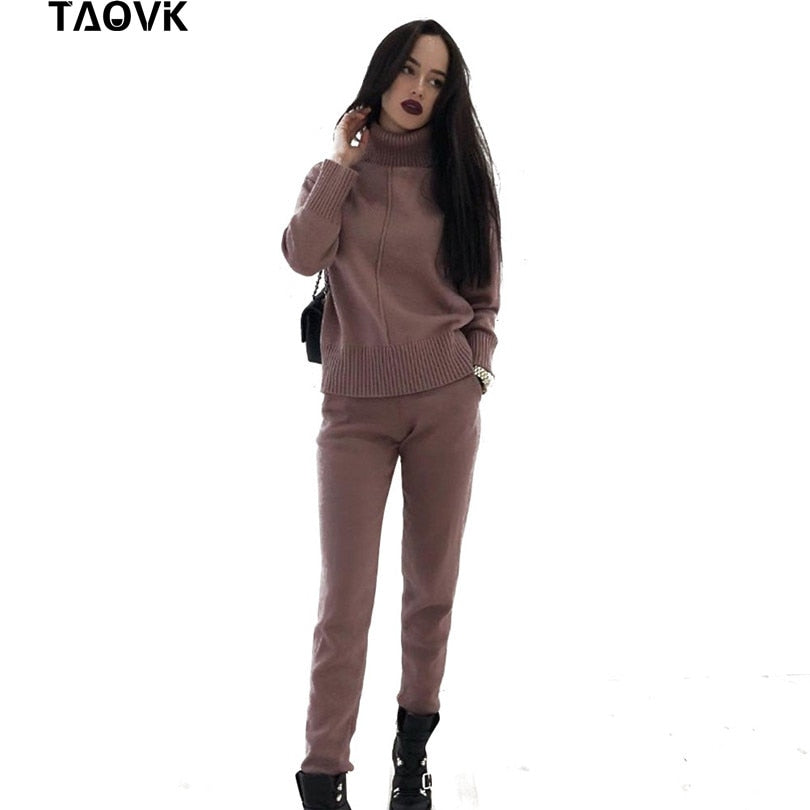 TAOVK Women's knitted Suits Spring sweater set Mid Line Turtleneck Pullover Sweater Pants two pieces Sets warm Jogging Costumes