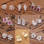 Earrings For Women Pearl Cute Fashion Girls Animal Jewelry Trend Rabbit Flower Heart Silver Fruit Cherry Butterfly Classic