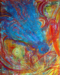 In The Beginning 7 OF 20 Blue Dragonfly Original Oil Painting on Canvas w/ 3D effect
