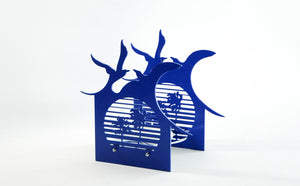 Candle light - BAZ Sunset Birds - Royal Blue w/ Stainless Steel Center Base
