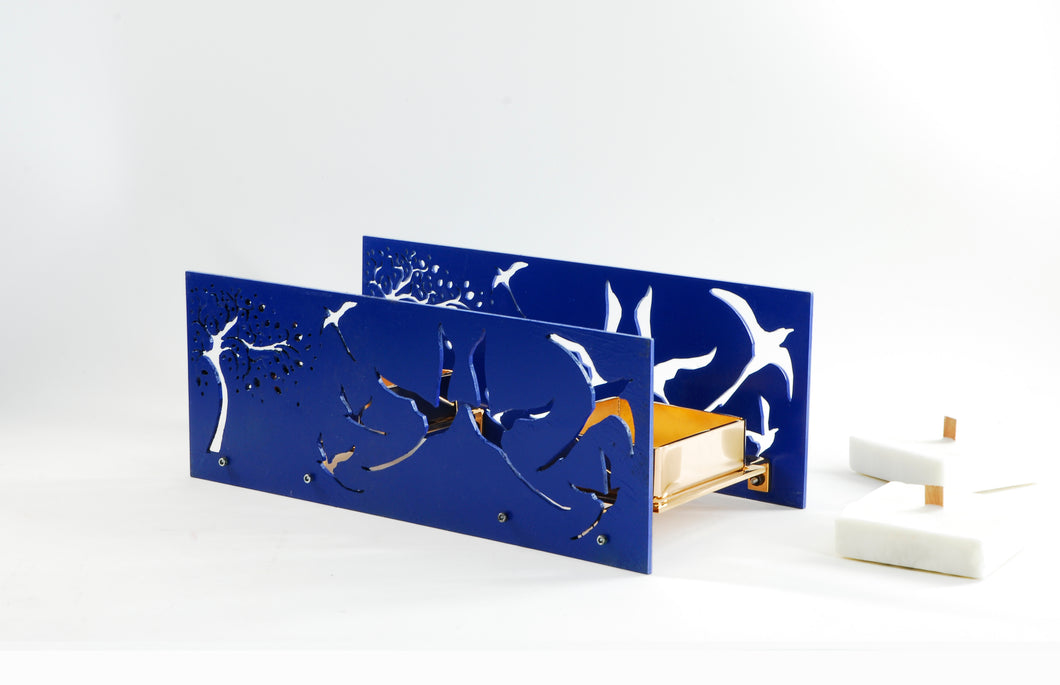 Candle light- BAZ Paradise -Royal Blue Center Base & Two Candle Trays in Rose Gold Plated