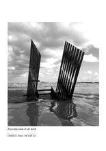 Load image into Gallery viewer, photography, black and white, metal sculpture, beach, horizon