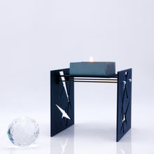 Load image into Gallery viewer, BAZ CONSTELLATIONS Midnight Blue is a Decorative Metal Sculpture & Candle Lantern With Swarovski Crystals