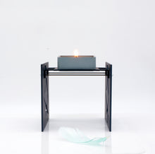 "Load image into Gallery viewer, Minimalist & Functional BAZ ""STARLIGHT"" PRISMA Midnight Blue is a Decorative Metal Sculpture & Candle Lantern"