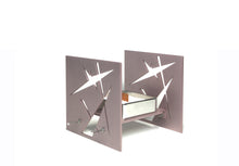 "Load image into Gallery viewer, Decorative Metal Sculpture ""BAZ Starlight"" Pearlescent Rose with mirror polished center tray"