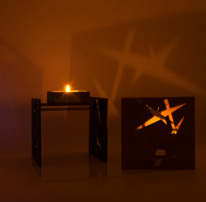 "Minimalist & Functional BAZ ""STARLIGHT"" PRISMA Midnight Blue is a Decorative Metal Sculpture & Candle Lantern"