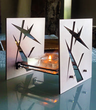 "Load image into Gallery viewer, Minimalist & Functional BAZ ""STARLIGHT"" PRISMA is a Decorative Metal Sculpture & Candle Lantern"