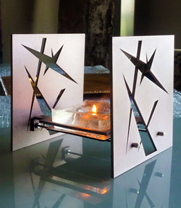 "Minimalist & Functional BAZ ""STARLIGHT"" PRISMA is a Decorative Metal Sculpture & Candle Lantern"