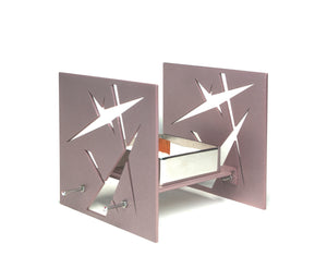 "Decorative Metal Sculpture ""BAZ Starlight"" Pearlescent Rose with mirror polished center tray"