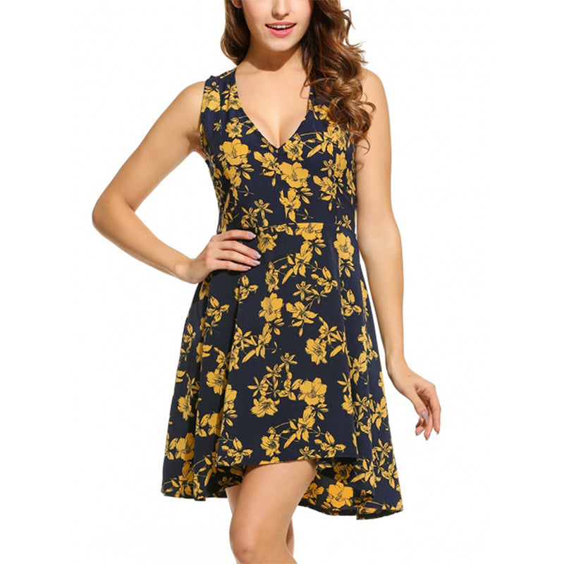 GUMPRUN Women Sexy V Neck Sleeveless Mini Summer Dress 2018 Boho Floral Print Dresses Vestidos Female Beach Casual Short Dress