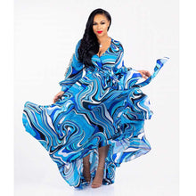 new style African Women clothing Dashiki fashion Print elastic cloth long sleeves dress S 7027