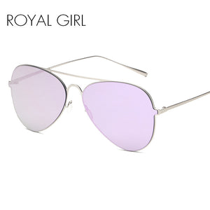 ROYAL GIRL New Sunglasses Women Metal Frame Mirror Lens Brand Designer UV400 Oversized Vintage Sun Glasses #SS065