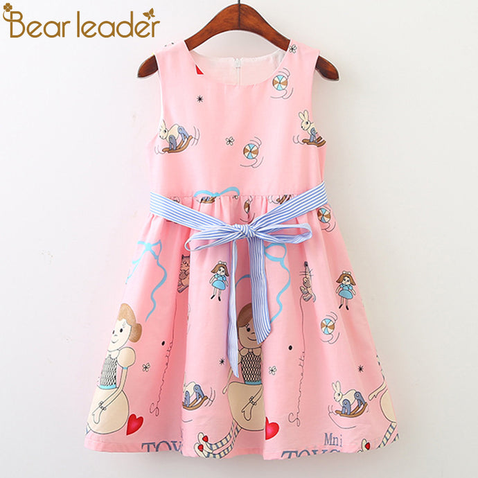Bear Leader Girls Dresses 2018 New Fashion Princess Clohting Loving Kittens Little Girl Prints Girls