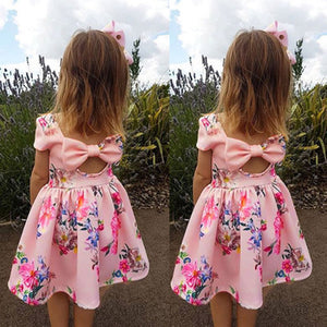 Toddler Kids Baby Girls Floral Print Bowknot Princess Party Pageant Dress Outfit