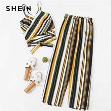 SHEIN Cut Out Striped Cami With Pants Spaghetti Strap Vest With Full Length Trousers  Twopiece