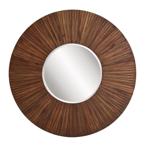 Acacia Round Walnut Finished Mirror-Coastline Mirrors