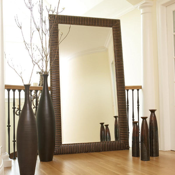 Aurelia Antique Copper Wood Oversized Floor Mirror-Coastline Mirrors