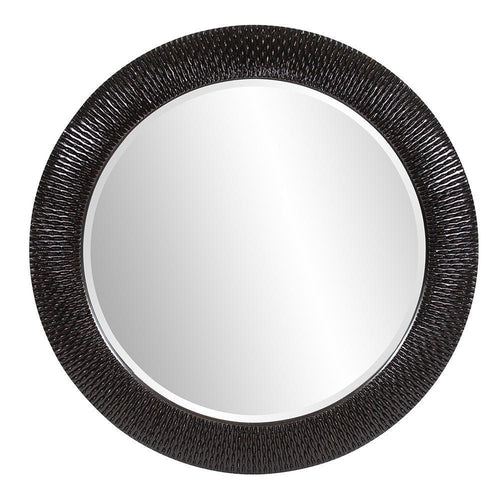 Bruggé Large Round Black Ribbed Wall Mirror-Coastline Mirrors