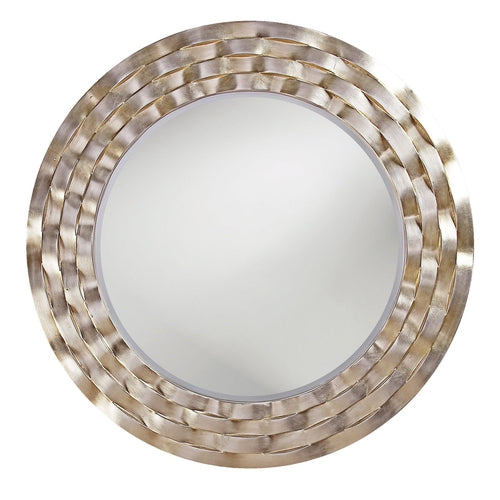 Carter Round Ripple Silver Leaf Accent Wall Mirror-Coastline Mirrors