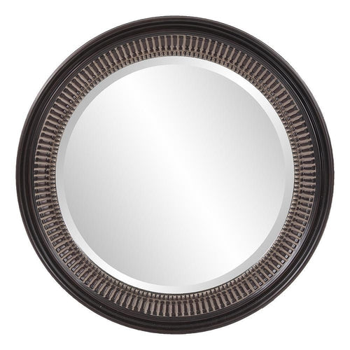 Charles Antique Brown Round Ribbed Finished Mirror-Coastline Mirrors