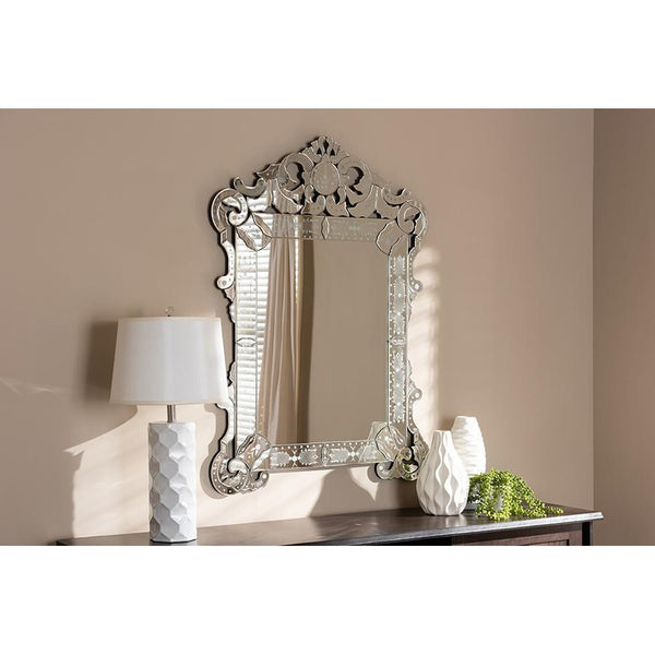 Classic Luxury Silver Finished Venetian Style Accent Wall Mirror-Coastline Mirrors