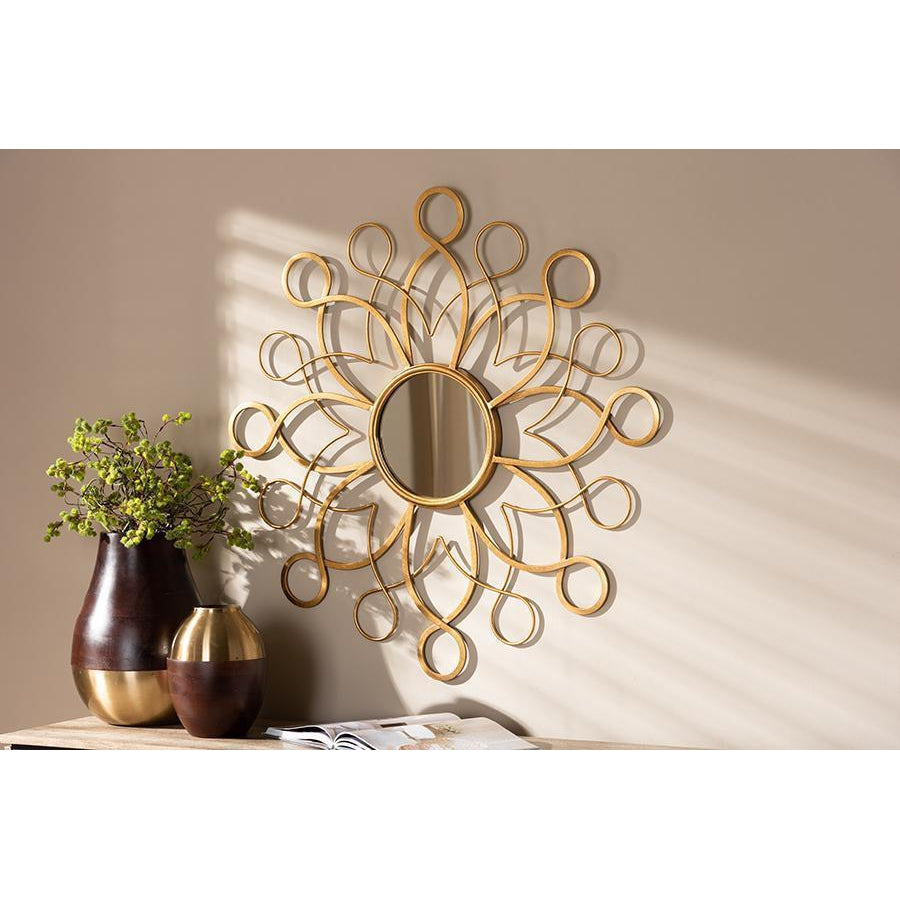 Contemporary Gold Swirl Sun Round Accent Wall Mirror-Coastline Mirrors