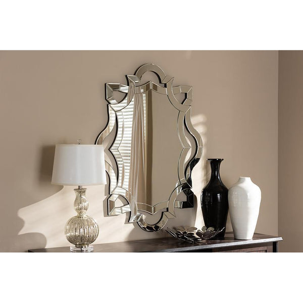 Contemporary Royal Silver Crest Finished Accent Wall Mirror-Coastline Mirrors