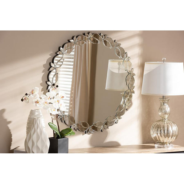 Contemporary Silver Leaf Finished Round Accent Wall Mirror-Coastline Mirrors