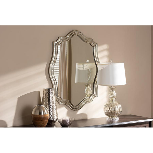Deco Crest Antique Silver Finished Accent Wall Mirror-Coastline Mirrors