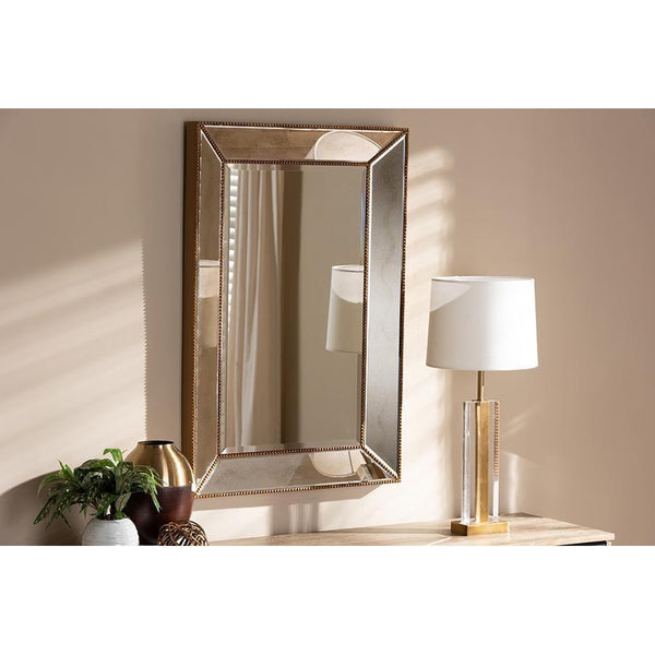Farmhouse Antique Gold Finished Rectangular Accent Wall Mirror-Coastline Mirrors