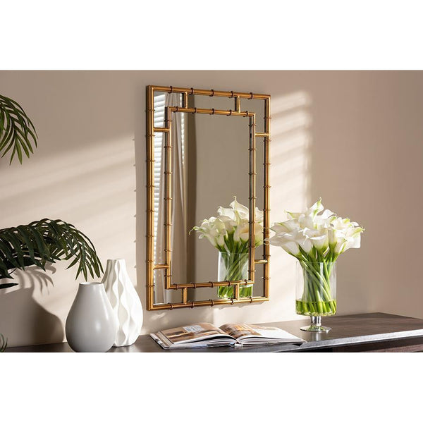 Gold Bamboo Square Finished Accent Wall Mirror-Coastline Mirrors