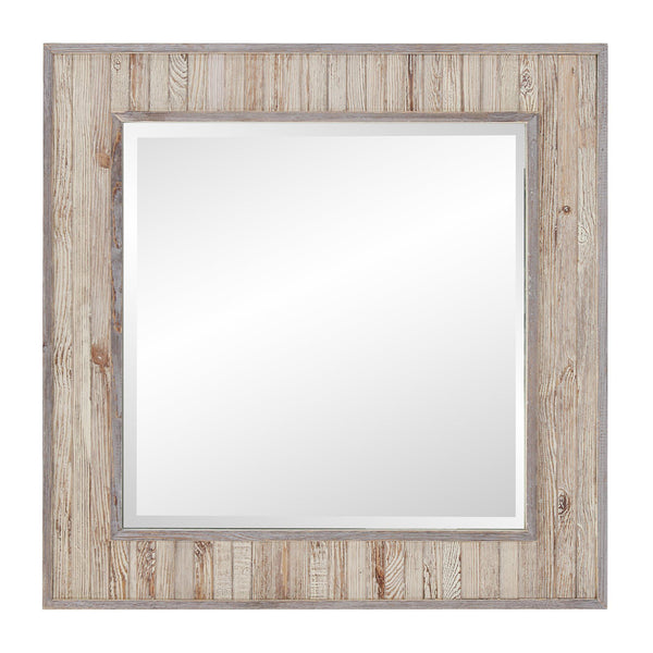 Lauralyn Light Rustic Wood Square Mirror-Coastline Mirrors