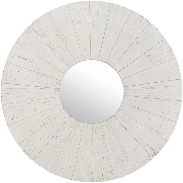 Le Sur Large Round White Wash Wood Wall Mirror-Coastline Mirrors