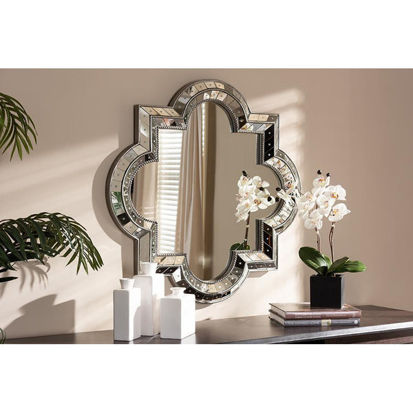 Luxury Silver Finished Quatrefoil Accent Wall Mirror-Coastline Mirrors